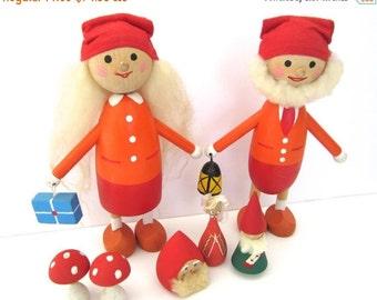 SALE 20% OFF NON-Linens Xl Vintage Wooden Swedish Figurines Elves Tomte Nisse