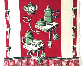 Vintage Tea Towel Coffee Pot Clock Pans Utensils Wall Hanging
