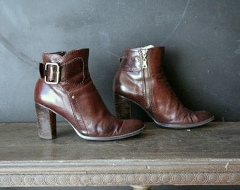 Leather Ankle Boots Chunky Heel Buckle Side Zip 90s Grunge Vintage From Nowvintage on Etsy
