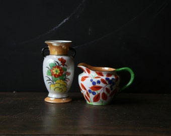 Antique Cream Pitcher Hand Painted Pearlized, Vintage, Bohemian Made in Japan From Nowvintage on Etsy