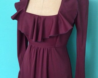 1970's burgandy maxi dress with princess neckline and ruffle detail SMALL