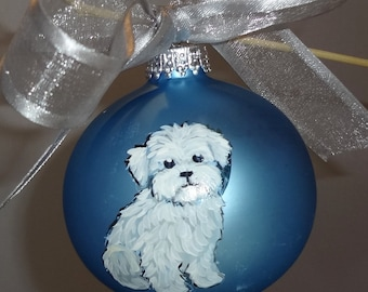 Maltese Puppy Dog Hand Painted Christmas Ornament - Can Be Personalized with Name