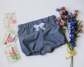 Chambray Blue~Bloomers, Bubble Shorts, Blue Bloomers, Diaper Cover