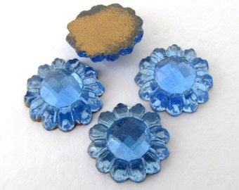 Vintage Flower Cabochon Sapphire Blue Glass Daisy Faceted Rhinestone Flatback Czech 13.5mm gcb1274 (4)