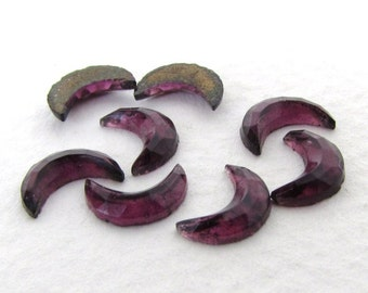 Vintage Glass Cabochon Amethyst Crescent Moon Faceted 8.5mm gcb1205 (8)