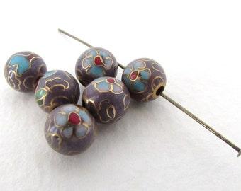 Vintage Cloisonne Beads Enamel Flower Blue Green Lavender Gold Round 8mm vgb0946 (6)