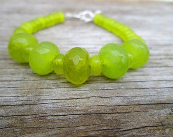Peridot Lime Green Beaded Bracelet Sterling Silver