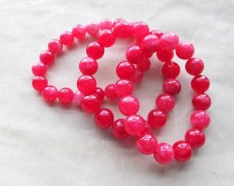 Geranium Pink Stretch Bracelet Set, Gemstone Bracelets