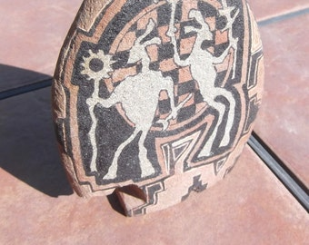 Indian-or-Primitive-Style-Painted-Stones-Signed-Tiomoteo 2