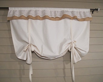 Natural White Shade with Rustic Burlap and Eyelet Lace Ruffle 60 Inch Long Tie Up Shade Custom Made to Order Tie Up Curtain Swag Balloon