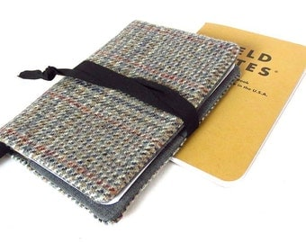 wool tweed field notes cover - vintage menswear upcycled into notebook cover - with bookmark and fabric wrap tie