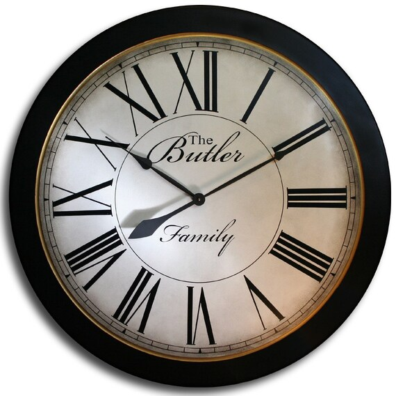 30in OVERSIZED Wall Clock-CAMBRIDGE Roman-Large Black Frame-Wedding Clock-Family Heirloom w/FREE Inscription