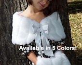 CHILD size faux fur wrap shawl shrug bridal flower girl wedding mink stole with satin bow closure FWC101 white, ivory, black, brown, pink