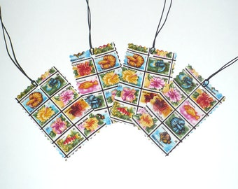Luggage Tags, Gift Tags, Vacation, laminated fabric, Stamps, Bermuda, Virgin Islands, Set of 4, SALE