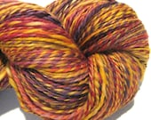 Handspun yarn Chutney worsted weight  2 ply, 414 yards hand dyed BFL wool gold orange brown burgundy yarn knitting supplies crochet supplies