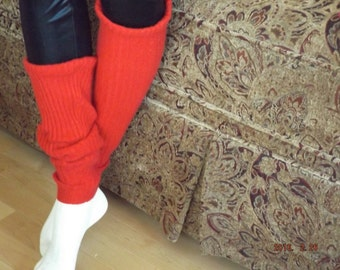 Red Ribbed Upcycled Pure Cashmere Leg Warmers