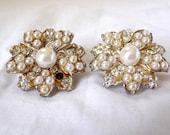 Vintage Clip Earrings, Vintage Earrings, White Beads, Rhinestones, Flower Shaped Earrings, Womens Accessories,Metal Earrings,Vintage Jewelry