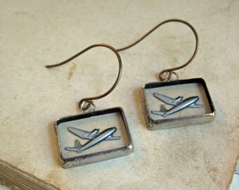 Fly Away Reverse Painted Glass Earrings Summer Jewelry