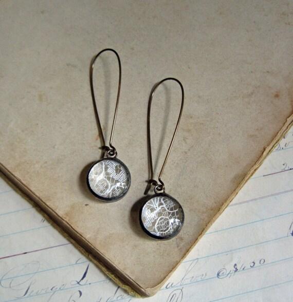 Vintage Lace Earrings Bubble Glass Wedding Jewelry