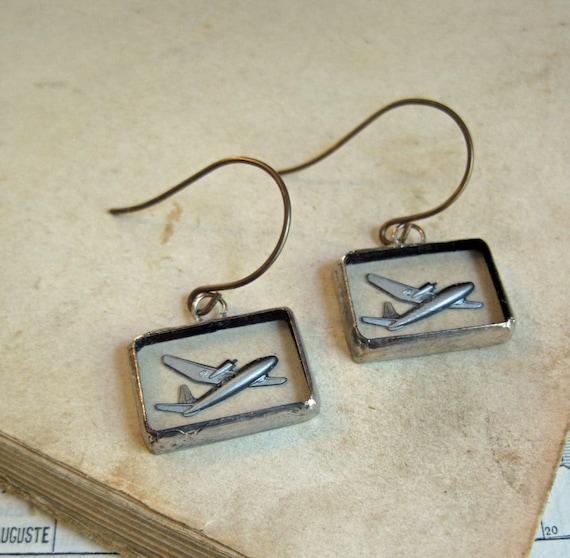 Fly Away Reverse Painted Glass Earrings Summer Jewelry