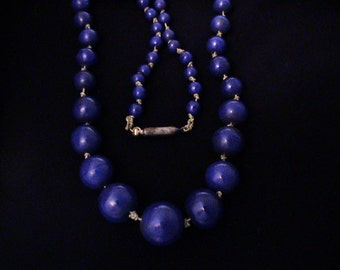 Vintage Victorian Cobalt Blue Glass Bead Choker Necklace