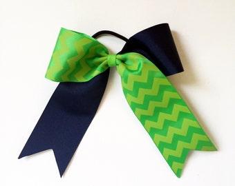 Girls Softball Navy and Lime Green Chevron Print Ponytail Bow