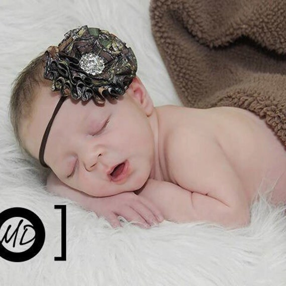 New Mossy Oak BREAK UP Camo Bling Flower Baby to Adult Skinny Headband Photography Prop