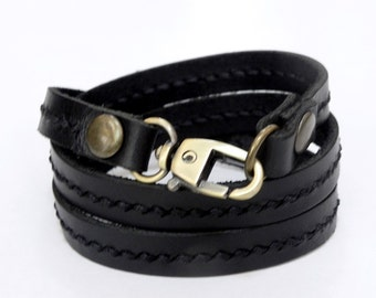 Leather Bracelet Wrap Leather Bracelet with Metal Alloy Clasp Hand Stitched in black