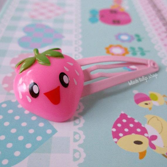 Pink Hair Clip Kawaii Strawberry Snap Barrette Fairy Kei Sweet Lolita Hair Accessory Strawberry Hair Clips for Girls Teen Barrette