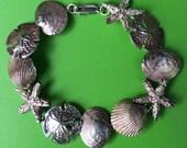 Vintage Large Sterling Silver 925 Sand Dollar Star Fish Link Bracelet