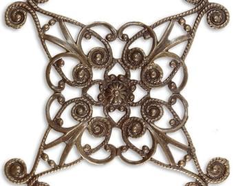 Diamond Swirls Wrapping Filigree, Natural Brass Vintaj Layering Item FL370