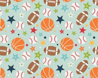 Flannel Playball Main Aqua - Riley Blake Designs - Sports Flannel Fabric- Baseball Basketball Football - Aqua Blue - You Choose The Yardage