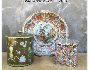 Kitchen Canister - Tin Canister - Shabby Chic Decor - Tea Canister - Tin Canister - Bowl - Bohemian Decor - CHIC