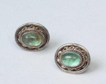CIJ Sale Sterling and Blue Green Glass Oval Earrings Posts Vintage