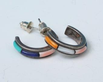 Channel Inlay Gemstone Earrings Sterling Posts Half Hoops Southwestern Vintage