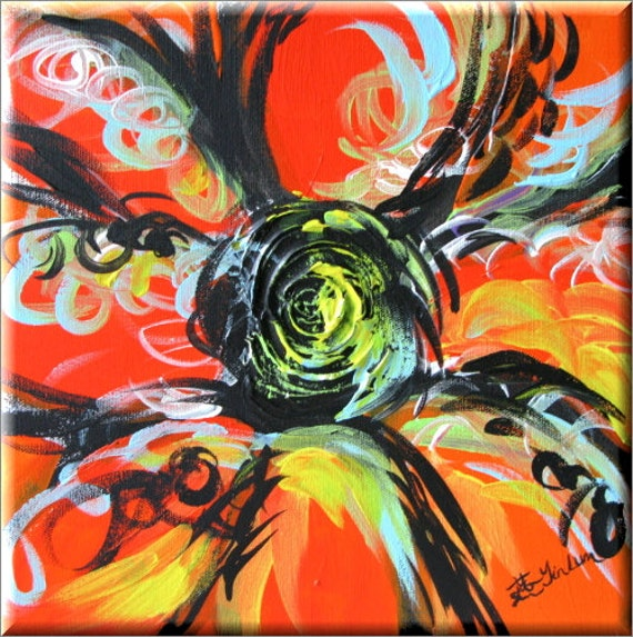 Orange Peel Sugar candy pop art flower abstract art Daisy art black calligraphy strokes