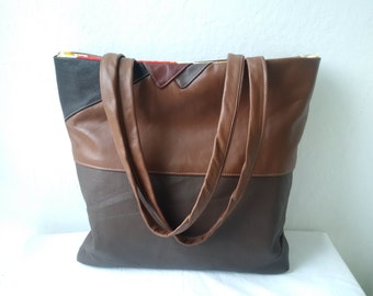 large leather bag, recycled leather bag, brown leather tote bag, manbag, large bag, recycled leather bag, upcycled leather bag, book bag