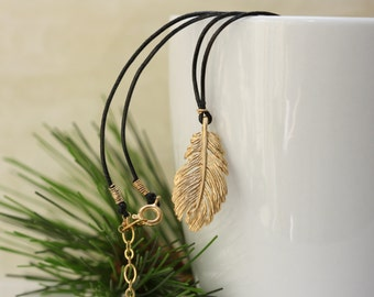 Gold Feather Black Cord Necklace, for Summer, Birthday Gift for Wife, Everyday Necklace, for sister, for best friend