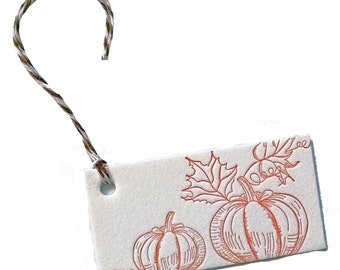 Pumpkin Patch Letterpress Gift Tags - 4 pack