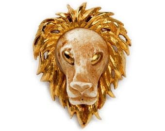 1960s 1970s Luca Razzo Zodiac Series Leo the Lion Vintage Statement Pin Brooch