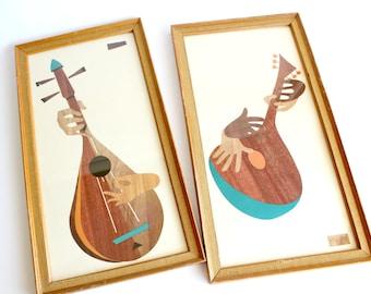 Vintage Mandolin Wood Cut Style Print Set Robert Lyons Amoroso Mid Century Modern