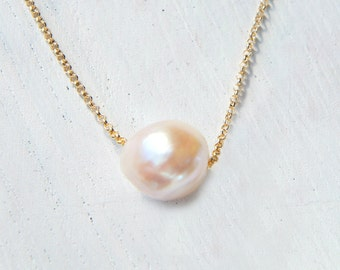 Akoya Pearl 18k Necklace, Solid Gold Chain Necklace, Japanese Cultured Pearl Pendant, Baroque Pearl Slide Necklace