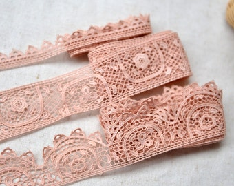Japanese Embroidered Lace Trim - Retro Pink Embroidery Chic Elegant Scalloped Shell Wave Floral Flowers(Choose Pattern)