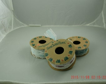 Vintage Set of Three 1980's Style Home Sweet Home Ribbon 6 Ft.  Shabby Chic Cottage, Farmhouse Style