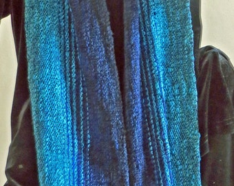SCARF Handwoven Cotton RayonChenille  Black,Navy, Turquoise, Green  Long
