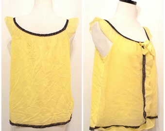 60s Yellow Teddy Black Trim Babydoll Chiffon Sleeveless Vintage Top Blouse CreamPuff Cupcake Lingerie Costume DressUp Harajuku Pajama Sz Med