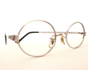 John Lennon Glasses Gleaming White Gold 1/10 12K VTG Spectacles Eyeglass Frame Steampunk Optical Saddle Bridge Metal Steve Jobs Harry Potter