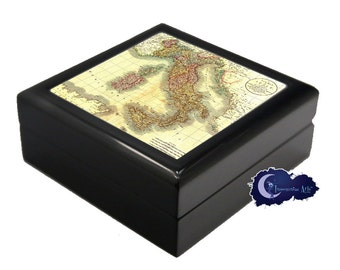 Antique Map of Italy - Jewelry and Keepsake Box