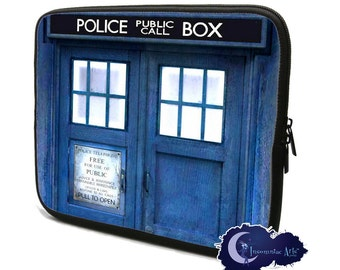 Blue Police Call Box - Neoprene Tablet and Laptop Sleeves