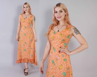Vintage 70s DRESS / 1970s Melon Cotton Floral Leaf Print Ruffled Sun Dress XS - S